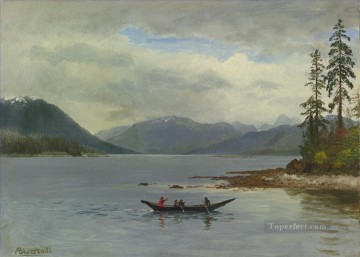 NORTHWEST COAST LORING BAY ALASKA American Albert Bierstadt river landscape Oil Paintings